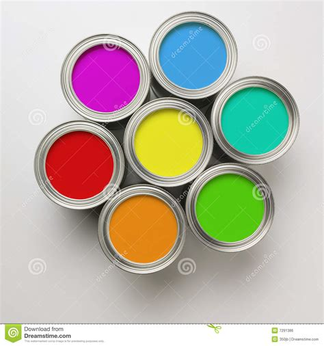 with paint paint cans in a circle royalty free stock image image