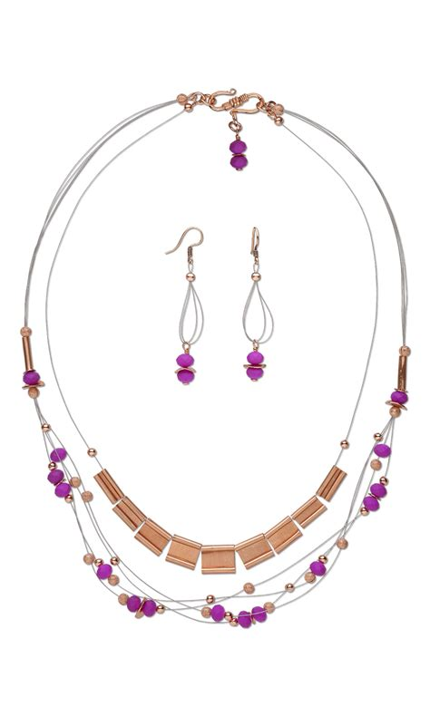 copper sheets for jewelry jewelry design multi strand necklace and earring set