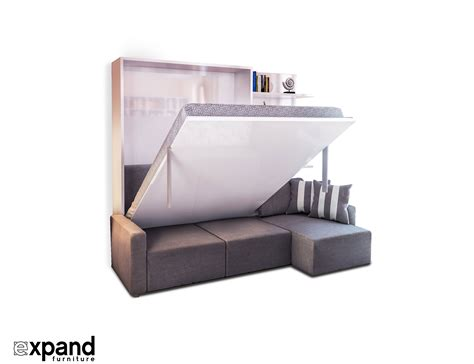 wall beds with sofa clean murphysofa sectional wall bed expand furniture