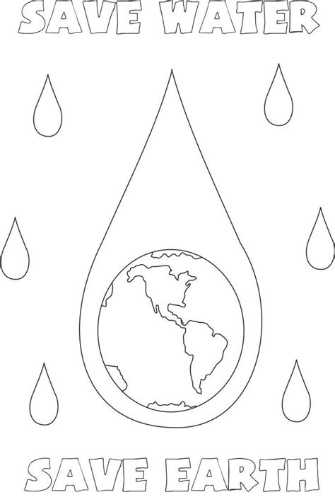 how to color water save water save earth coloring page for