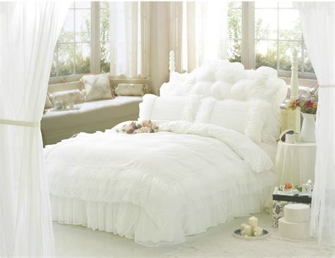 Gorgeous Cool Comforter Sets Home And Textiles Free Shipping Luxury Snow White Lace Beautiful Bedding Sets Unique Princess Comforter Set Ruffle