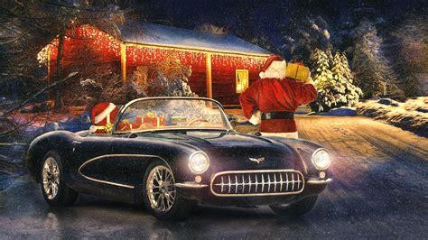 Classic Car Wallpapers 1600 X 900 Hd by Corvette Oldtimer Winter Schnee Lichter Neujahr
