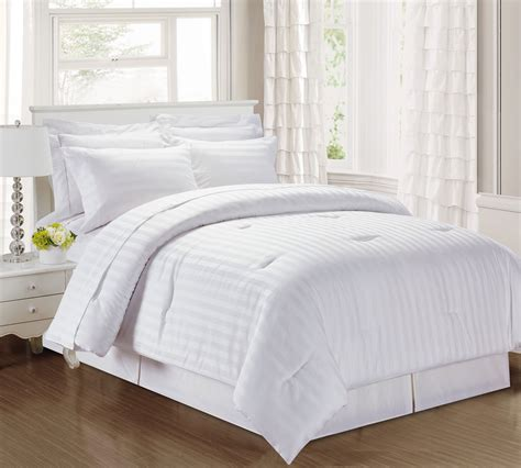 white cotton comforter set 3 damask stripe 500 thread count cotton comforter