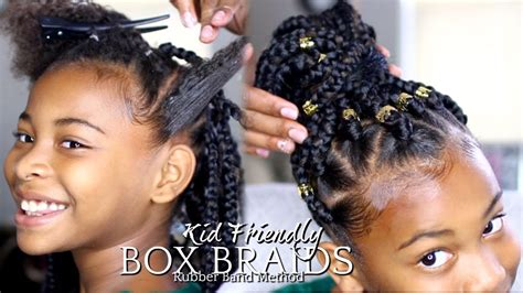 how to put on braids with rubber bands how to box braids quot rubber band method quot hairstyle