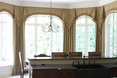 curtains for kitchen bay windows bay window curtains glencoe il traditional kitchen