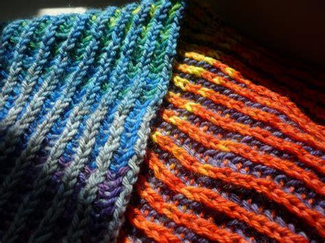 brioche knit knitting with gradient yarns wandering wool