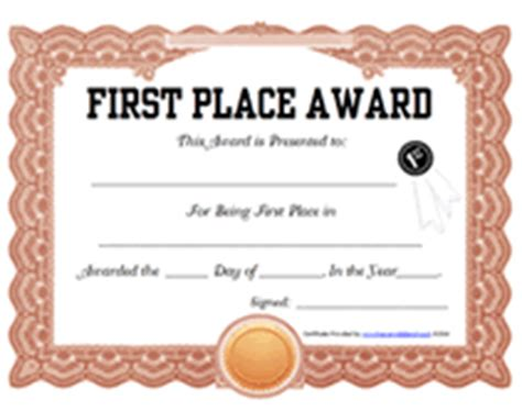 free printable 1st first place award certificate templates