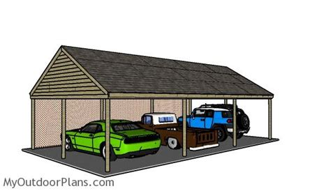 carport building plans 3 car carport plans myoutdoorplans free woodworking