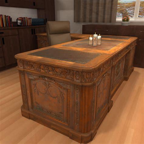 wood office desk carved wood antique office desk 3d model