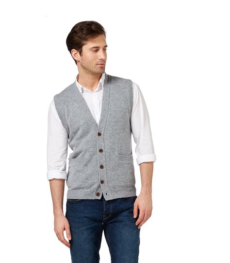 knitted waistcoats casual woolovers mens lambswool button waistcoat casual