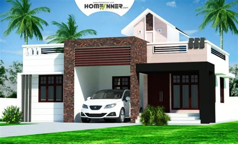 cost of house plans rectangular kerala home plans design low cost 976 sq ft 2bhk
