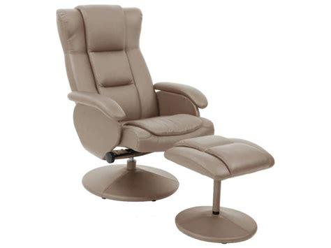 fauteuil relaxation repose pieds jules coloris taupe en pu vente de tous les fauteuils