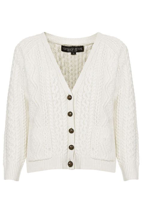 white cable knit cardigan topshop cable knit cardigan in white lyst