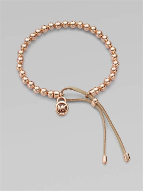 leather and bead bracelet michael kors leather accented beaded bracelet