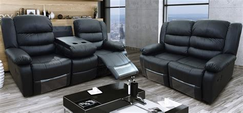 recliner leather sofa set roma recliner 3 2 seater bonded leather black