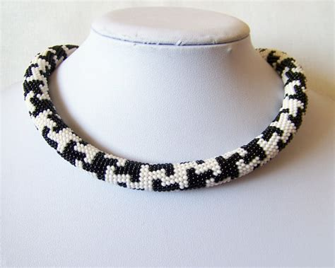 seed bead rope necklace beaded crochet rope necklace beadwork seed jewelry