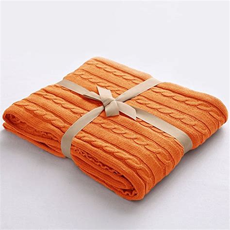 orange cable knit throw ntbay 100 cotton cable knit throw blanket soft warm