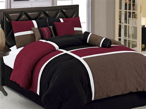 black and brown comforter sets 7pcs burgundy brown black quilted patchwork bed in a bag