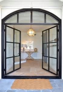 steel and glass front doors transitional home