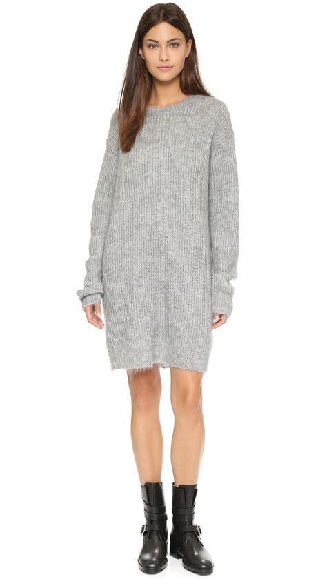 knit tunic dress t by wang mohair knit tunic dress grey