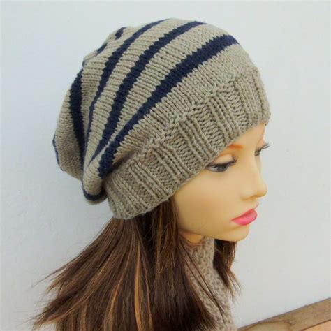 knit beanie pattern easy knitting pattern cus striped slouchy beanie pattern easy