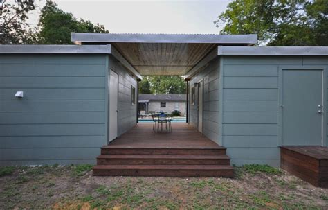 Modern Small Bathrooms 14x14 modern dwelling double tiny house with breezeway by