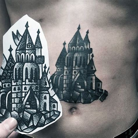 fairy tale old black and white detailed castle