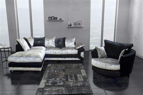 silver sectional sofa new dallas black silver crushed velvet fabric sofa suite