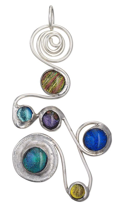 jewelry soldering jewelry design pendant with dichroic glass cabochons and