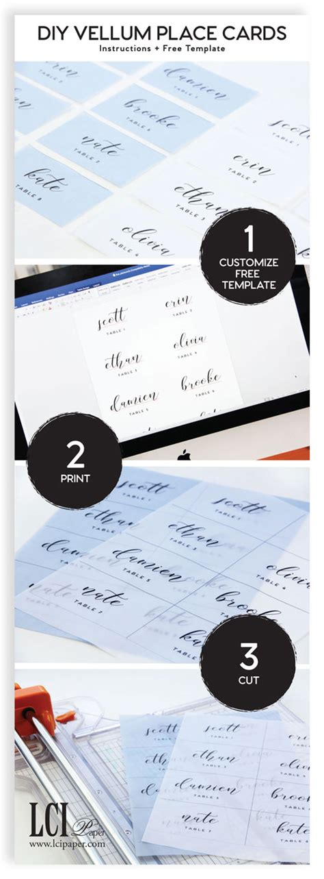 make your own place cards infographic your own vellum place cards as easy as 1 2 3