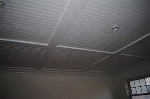 Basement Drop Ceiling Tiles by Interior White Beadboard Ceiling Panels Combined With