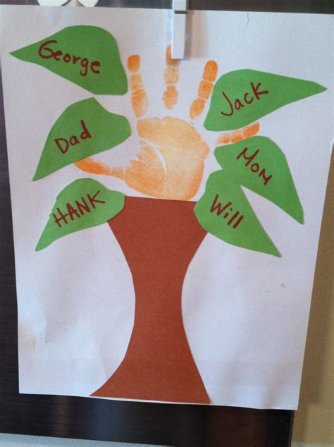 family tree craft project family tree handprint preschool project for the