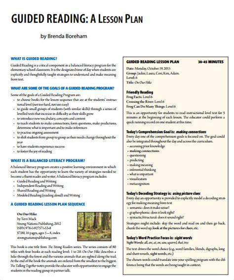 the guided reading s companion prompts discussion starters teaching points sle guided reading lesson plan 9 documents in pdf word