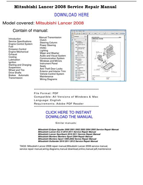 automotive repair manual 2003 mitsubishi lancer evolution seat position control mitsubishi lancer 2008 service repair manual by repairmanualpdf issuu