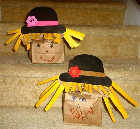 scarecrow paper bag craft paper bag scarecrows fall stuff