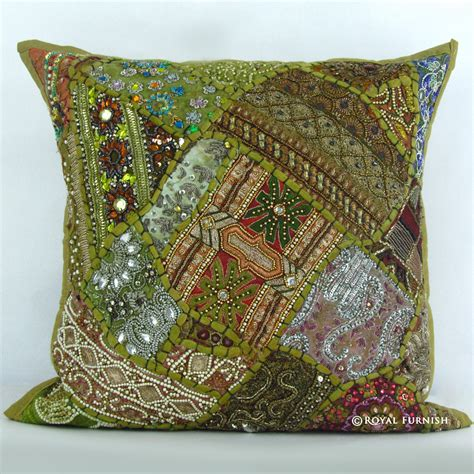 beaded decorative pillows green vintage beaded patchwork embroidered accent throw