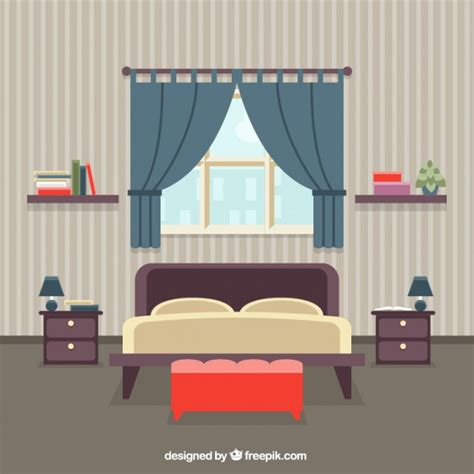 bedroom bed bedroom interior vector free