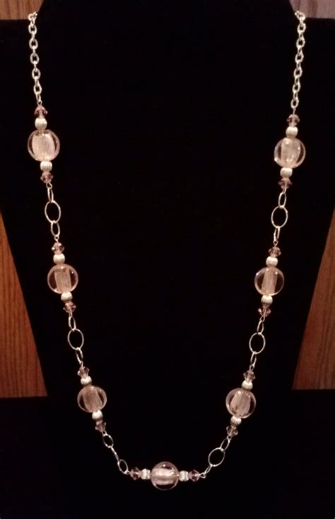 silver foil jewelry handmade beaded necklace with pink silver foil and silver