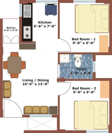 2bhk plan for 500 sq ft 500 sq ft 2 bhk 1t apartment for sale in aswani properties