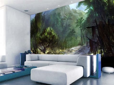 murals on wall forest painted wall murals living room homescorner