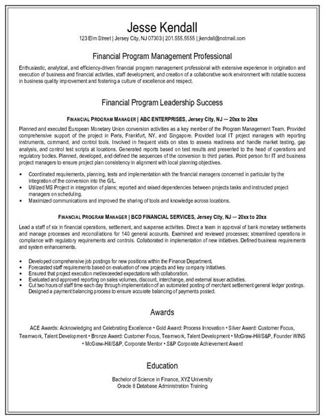 example financial program manager resume free sample