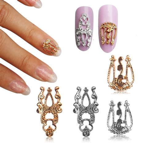 how to make nail jewelry 10pcs 3d glitter alloy hollow out nail sticker slices