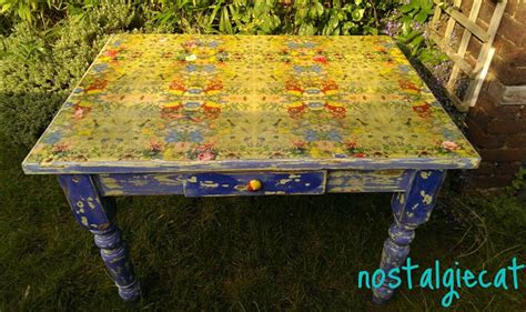decoupage table top nostalgiecat napking decoupage table top makeover