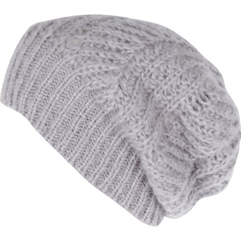 River Island Grey Knit Beanie Hat In Gray For