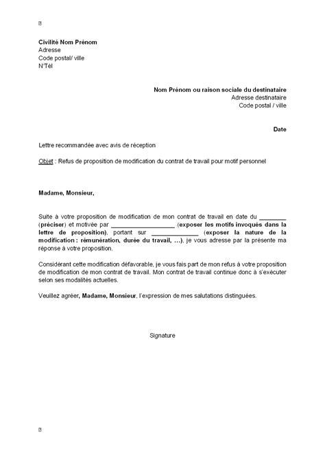 Modification Du Contrat De Travail Motif Personnel by Exemple Gratuit De Lettre Refus Par Salari 233 Modification