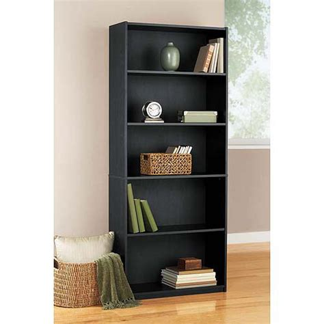 walmart bookshelves mainstays 5 shelf bookcase black furniture walmart
