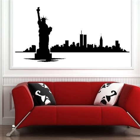 new york skyline wall sticker new york skyline modern city picture wall decals vinyl