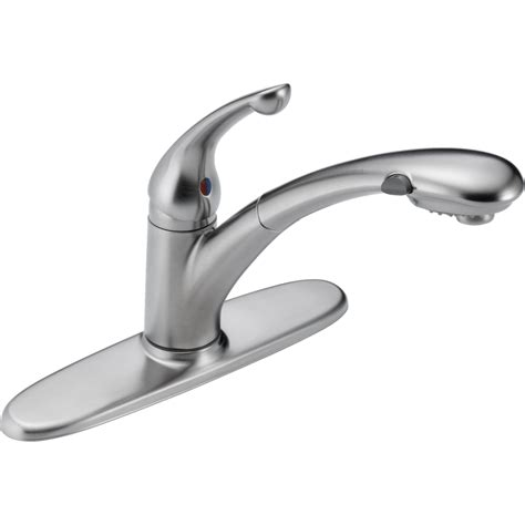 delta faucets for kitchen delta faucet 470 ar dst signature arctic stainless pullout spray kitchen faucets efaucets