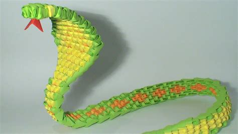 how to make a snake out of 3d origami green snake tutorial