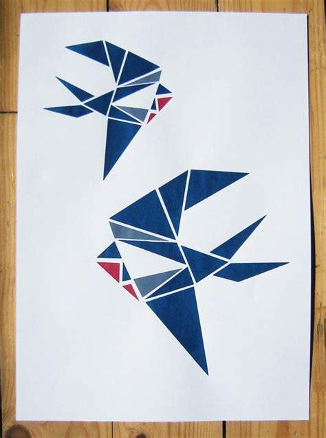 origami screen two swallows origami screen print